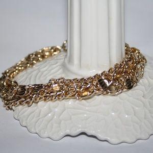 "Vintage gold multi strand bracelet 7"""